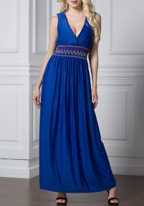 67ca3f5dbff7 Blau Flickwerk V-Ausschnitt Ärmellos Große Größe Maxikleid Cocktailkleid  Abendkleid Lang