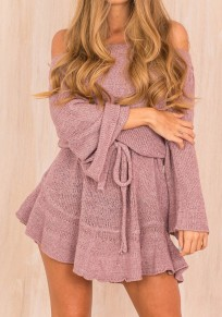 Purple Off Shoulder Sashes Draped Boat Neck Long Sleeve Mini Dress