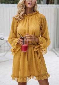 Yellow Drawstring Cut Out Round Neck Fashion Mini Dress