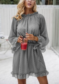 Grey Plain Sashes Tassel Round Neck Casual Mini Dress