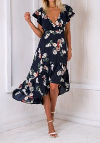 Navy Blue Ruffle Tie Back Backless High-Low Mermaid Las Vegas Maxi Dress