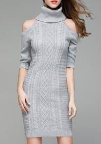 Grau Schulterfreies Hoher Stehkragen Fünfte Ärmel Minikleid Mode Pullover Strickkleider Enge Kleid Kurz