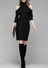 Schwarz Schulterfreies Hoher Stehkragen Fünfte Ärmel Minikleid Mode Pullover Strickkleider Enge Kleid Kurz