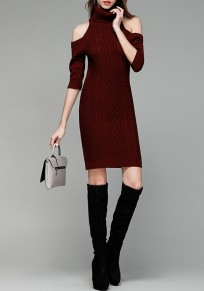 Weinrot Schulterfreies Hoher Stehkragen Fünfte Ärmel Minikleid Mode Pullover Strickkleider Enge Kleid Kurz