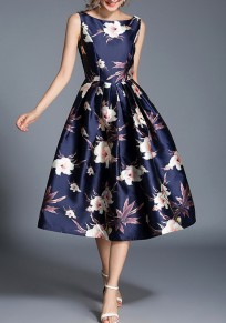 Blue Floral Pleated Backless Round Neck Sleeveless Vintage Midi Dress