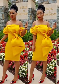 Yellow Bow Backless Off Shoulder Bodycon Short Sleeve Party Midi Dress