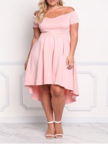Pink Off Shoulder Pleated High-Low Plus Size Quinceaner Big Swing Cocktail Party Maxi Dress