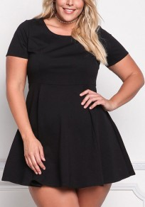 Black Pleated Plus Size High Waisted Party Little Tutu Mini Dress
