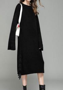 Black Drawstring Round Neck Long Sleeve Fashion Sweaters Maxi Dress