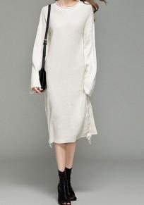 White Drawstring Round Neck Long Sleeve Fashion Sweaters Maxi Dress