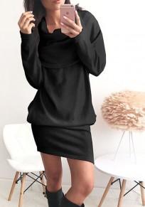 Black Pockets Turndown Collar Long Sleeve Fashion Cotton Mini Dress