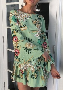 Green Floral Print Round Neck Long Sleeve Sweet Mini Dress