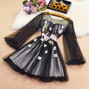 Black Patchwork Grenadine Appliques Round Neck Sweet Mini Dress