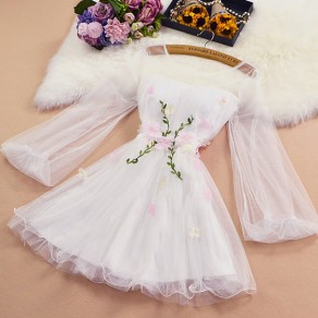 White Patchwork Grenadine Appliques Round Neck Sweet Mini Dress