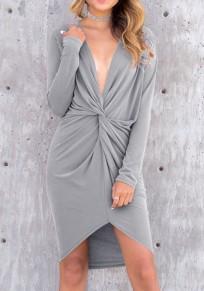 Mini robe irrégulier ébouriffer plissé décolleté plongeant manche longue mode gris