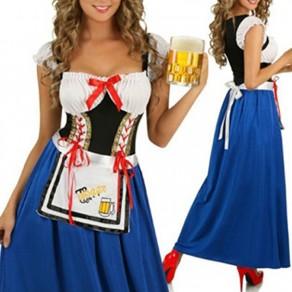 Multicolor Patchwork Drawstring Tie Back Bandeau Bow Dirndl Oktoberfest Vintage Maxi Dress