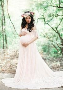 Abito maxi pizzo bandeau pieghettato fuori dalla lunghezza del pavimento della spalla elegante maternità bianco