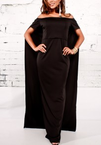 Black Bandeau Backless Cape Off Shoulder High Waisted Party Maxi Dress