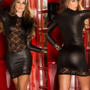 Black Patchwork Lace Round Neck Long Sleeve Fashion Mini Dress