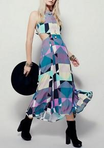 Multicolor Geometric Tie Back Round Neck Fashion Maxi Dress
