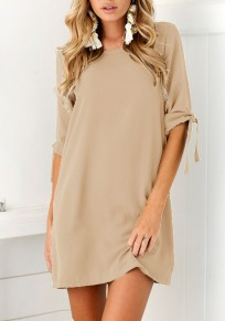 Khaki Irregular Round Neck Elbow Sleeve Mini Dress