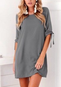 Grey Irregular Round Neck Elbow Sleeve Mini Dress