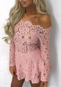 Pink Patchwork Lace Off Shoulder Boat Neck Long Sleeve Fashion Mini Dress