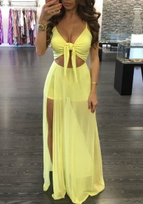 Yellow Cut Out Grenadine Backless Lace-Up Side Slit Beach Maxi Overlay Romper Dress