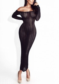 Black Bandeau Off Shoulder Bodycon Long Sleeve Party Maxi Dress
