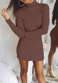 Khaki Rüschen Hoher Stehkragen Langarm Mode Bodycon Minikleid Pulloverkleider Strickkleider