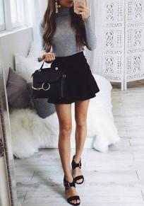 Light Grey Ruffle High Neck Long Sleeve Fashion Mini Dress