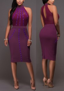 Purple Patchwork Cut Out Rhinestone Bridesmaid Homecoming Party Midi Dress