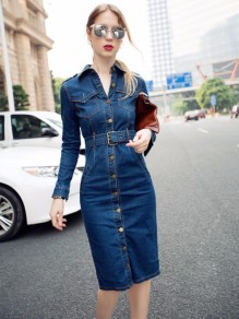 Blue Pockets Belt Single Breasted Turndown Collar Casual Fashion Brisbane Midi Denim Dress