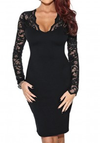 Mini vestido encaje de encogimiento escote moda delgada negro