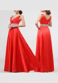 Vestido largo cuello en pico drapeado sin mangas elegantee rojo