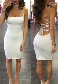 White Drawstring Condole Belt Scoop Neck Fashion Mini Dress