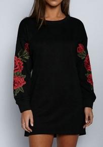 Schwarze Blumen Stickerei Rundhals Langarm Oversize Minikleid Beiläufige Günstige Partykleider Kurz