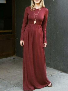 Wine Red Draped Pockets Round Neck Long Sleeve Casual Maxi Dress