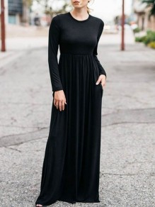Black Draped Pockets Round Neck Long Sleeve Casual Maxi Dress
