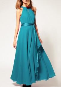 Hellgrün Cut Out mit Gürtel Off Shoulder Halter-Ansatz Elegante Maxikleid Türkise Kleider Abendkleider
