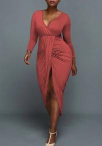 Nacarat Ruffle Slit Bodycon Deep V-neck Long Sleeve Maxi Dress