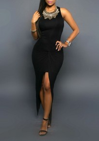 Black Irregular Slit Ruched Round Neck Homecoming Party Maxi Dress