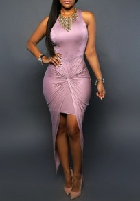 Pink Irregular Slit Ruched Round Neck Homecoming Party Maxi Dress