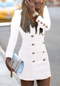 White Double Breasted Military Studded V-neck Fashion Mini Dress