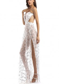 White Patchwork Cut Out Sequin Bandeau Backless Off Shoulder Party Maxi Dress