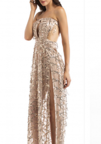 Khaki Patchwork Cut Out Sequin Bandeau Backless Off Shoulder Party Maxi Dress