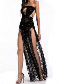 Schwarzes Patchwork Ausschnitt Paillette Bandeau rückenfrei Aus Schulter Party Maxi Kleid