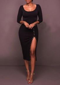 Mi-longue robe fentes latérales moulant col rond manches 3/4 noir