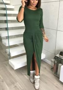 Dunkelgrün Unregelmäßiger Rundhals Lang-Langarm Langärmeliges Maxi Kleid