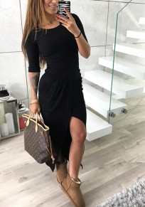 Black Green Irregular Round Neck High-Low Long Sleeve Casual Maxi Dress